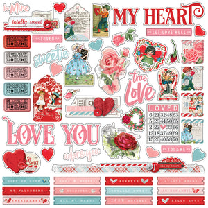 Simple Stories 12x12 Cardstock Stickers - My Valentine - Combo