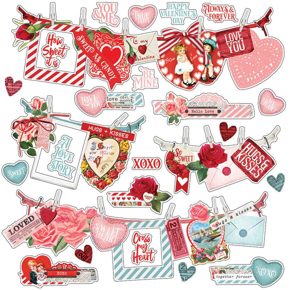 Simple Stories 12x12 Cardstock Stickers - My Valentine - Banners
