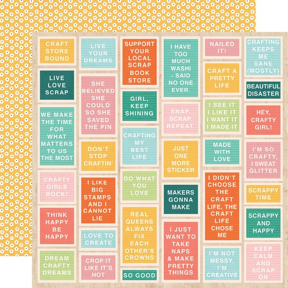 Simple Stories Papers - Hey, Crafty Girl - Say What? - 2 Sheets