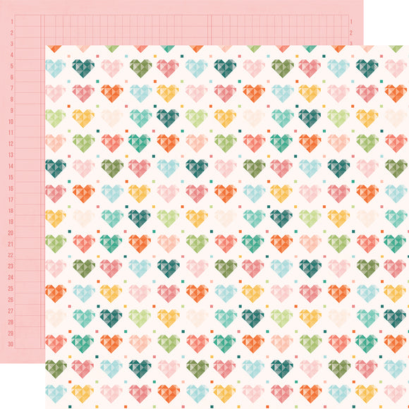 Simple Stories Papers - Hey, Crafty Girl - Made With Love - 2 Sheets
