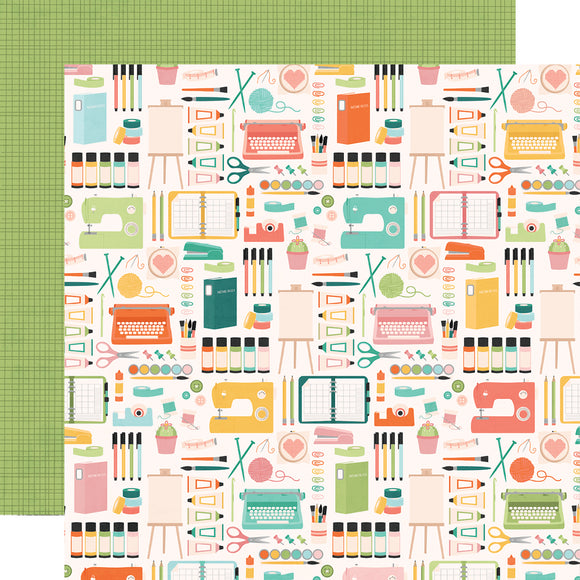 Simple Stories Papers - Hey, Crafty Girl - Makers Gonna Make - 2 Sheets