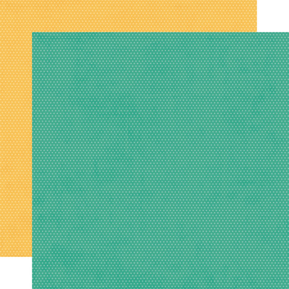 Simple Stories Papers - Hey, Crafty Girl - Turquoise/Sunflower Dots - 2 Sheets