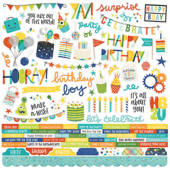 Simple Stories 12x12 Cardstock Stickers - Birthday Blast - Combo