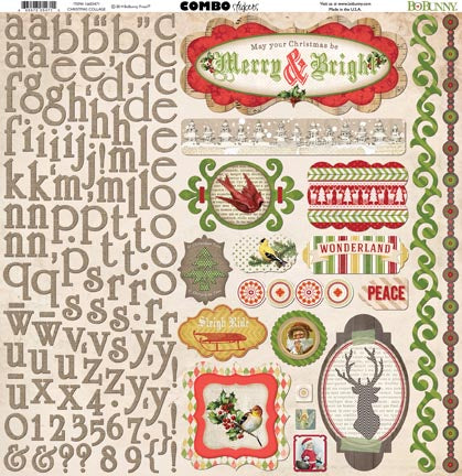 Bo Bunny Cardstock 12x12 Combo Stickers - Christmas Collage