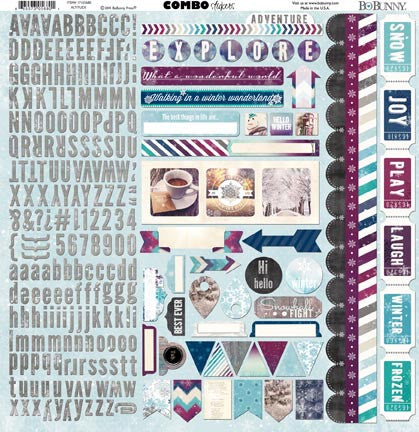Bo Bunny Cardstock 12x12 Combo Stickers - Altitude