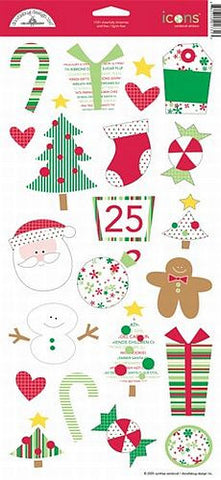 Doodlebug Design Cardstock Stickers - Cheerfully Christmas Icons