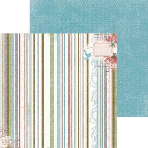 Bo Bunny Papers - Garden Journal - Stripe - 2 Sheets