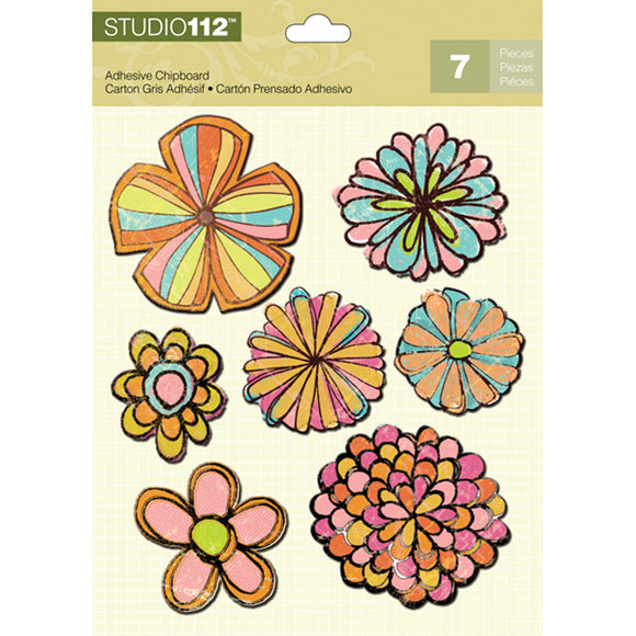 K&Company Studio 112 Adhesive Chipboard - Flowers