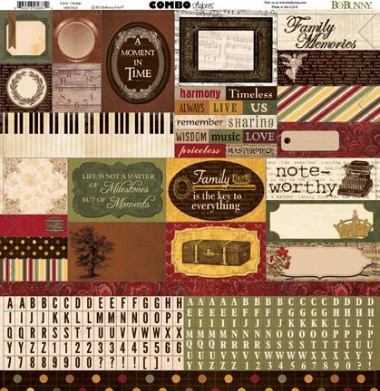 Bo Bunny Cardstock 12x12 Combo Stickers - Heritage
