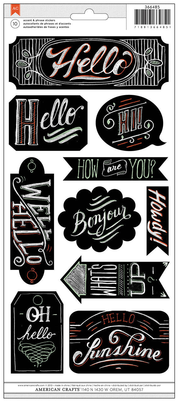 American Crafts Chalkboard Stickers - Greetings