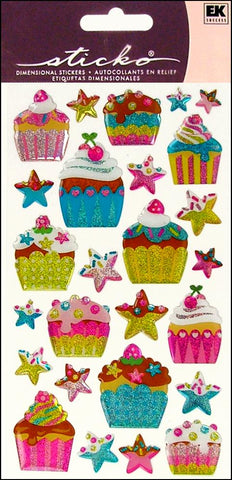 EK Success Sticko Epoxy Stickers - Birthday Cupcakes