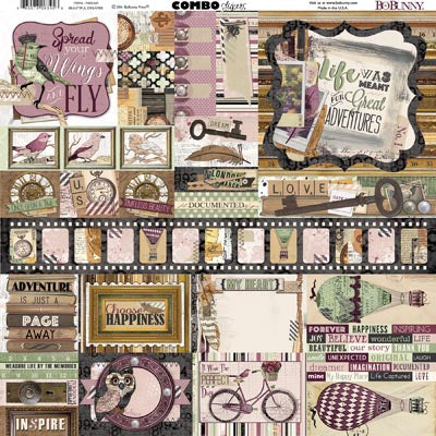 Bo Bunny Cardstock 12x12 Combo Stickers - Beautiful Dreamer