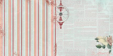 Bo Bunny Papers - Bella Rosa - Reflection - 2 Sheets