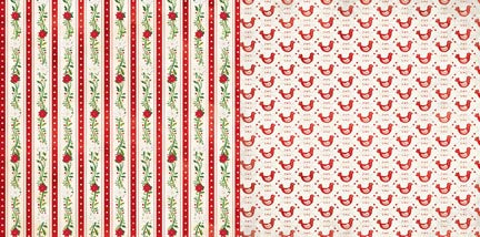 Bo Bunny Papers - Merry & Bright - Peppermint - 2 Sheets