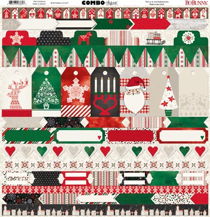 Bo Bunny Cardstock 12x12 Combo Stickers - Merry & Bright