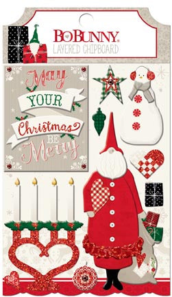 Bo Bunny Layered Chipboard - Merry & Bright