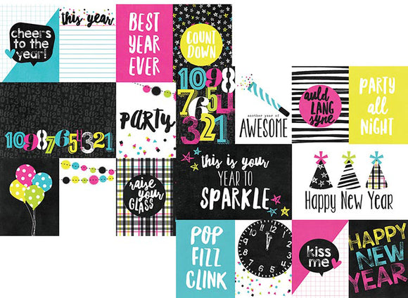 Simple Stories Papers - Happy New Year - 3x4 & 4x6 Elements - 2 Sheets