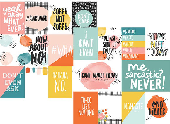 Simple Stories Papers - #Whatever - 3x4 & 4x6 Elements - 2 Sheets