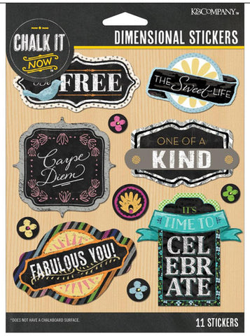 K&Company 3D Stickers - Chalk It Now - Word Dimensionals