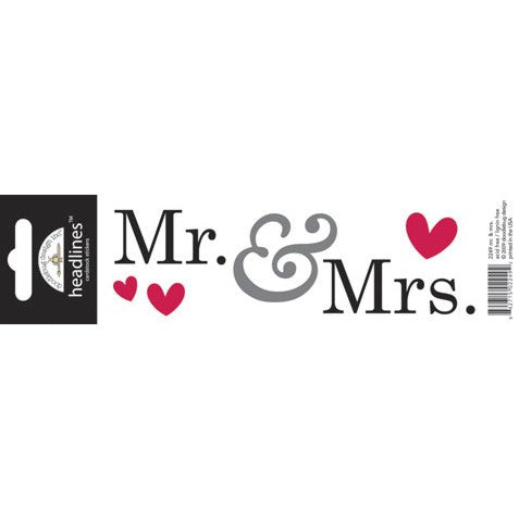 Doodlebug Design Headlines Stickers - Mr. & Mrs.