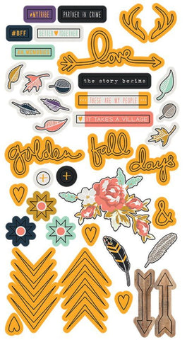 Fancy Pants Long Puffy Stickers - Golden Days - Elements