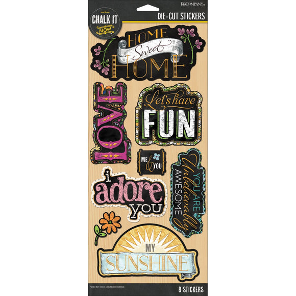 K&Company Die-Cut Foil Stickers - Chalk It Now - Gold Large Words