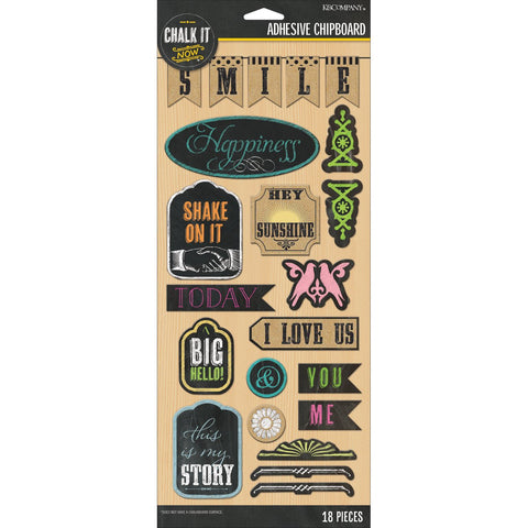 K&Company Adhesive Chipboard - Chalk It Now - Words and Shapes