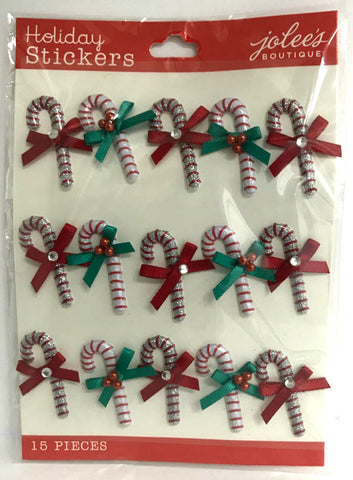 Jolee's Boutique 3D Stickers - Mini Candy Cane Repeat