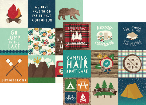 Simple Stories Papers - Cabin Fever - 4x4 Elements - 2 Sheets