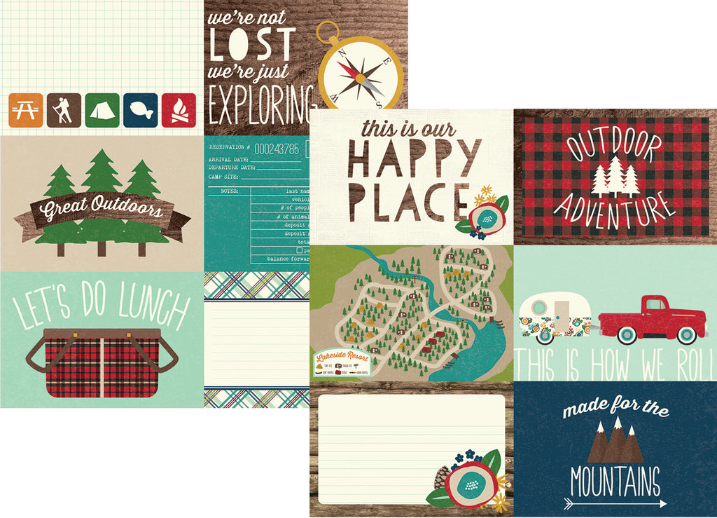 Simple Stories Papers - Cabin Fever - 4x6 Horizontal Elements - 2 Sheets
