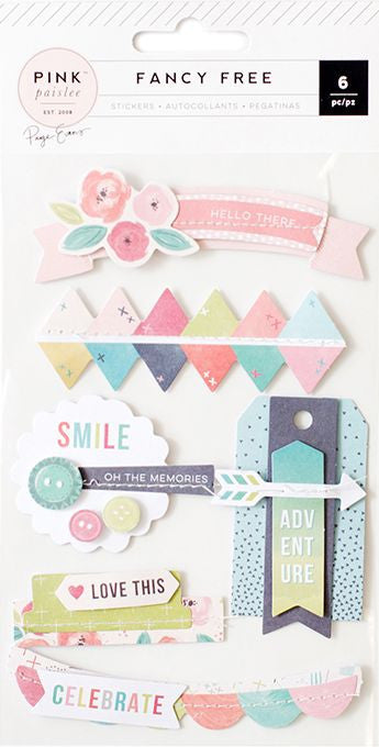 Pink Paislee Layered Stickers - Fancy Free