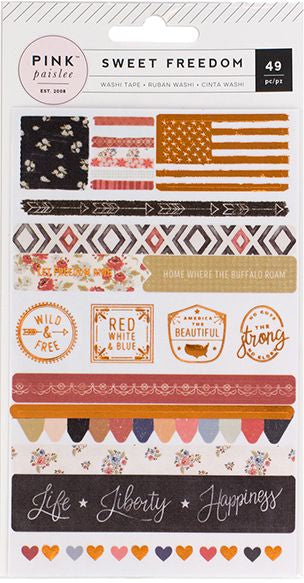 Pink Paislee Washi Stickers - Sweet Freedom