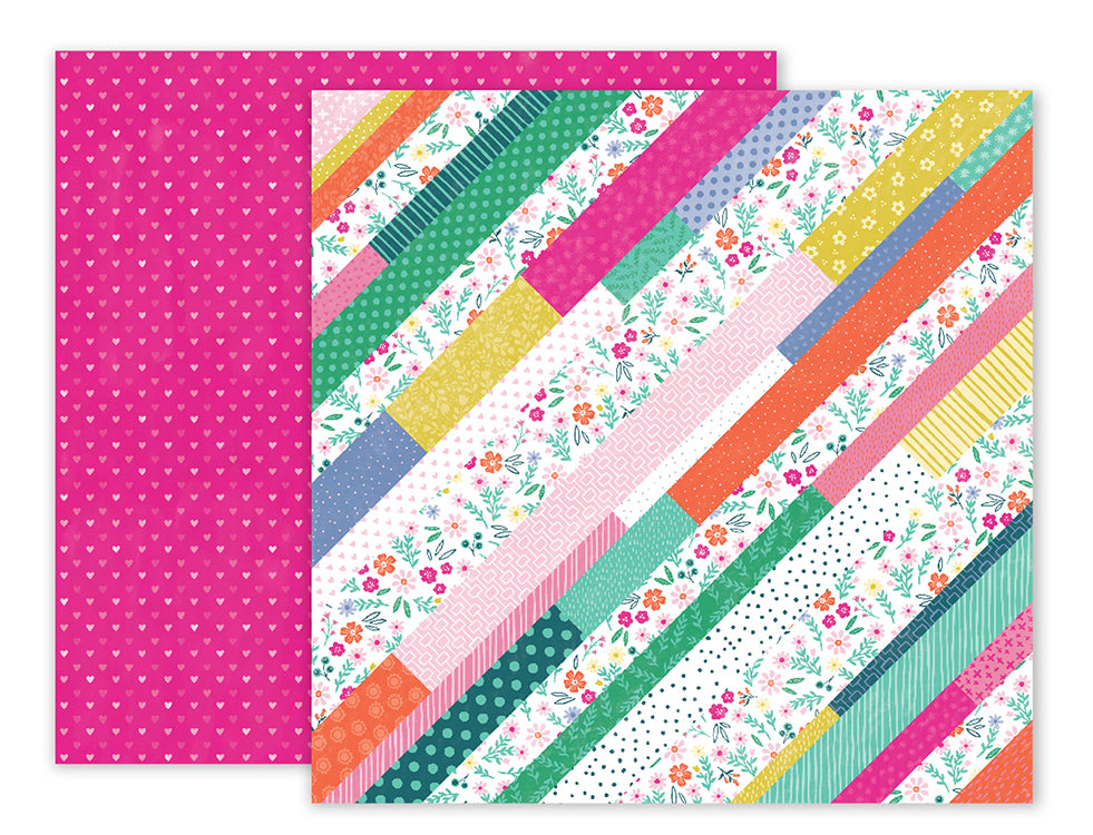 Pink Paislee Papers - Oh My Heart - Paper 12 - Two Sheets