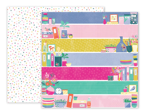 Pink Paislee Papers - Oh My Heart - Paper 21 - Two Sheets