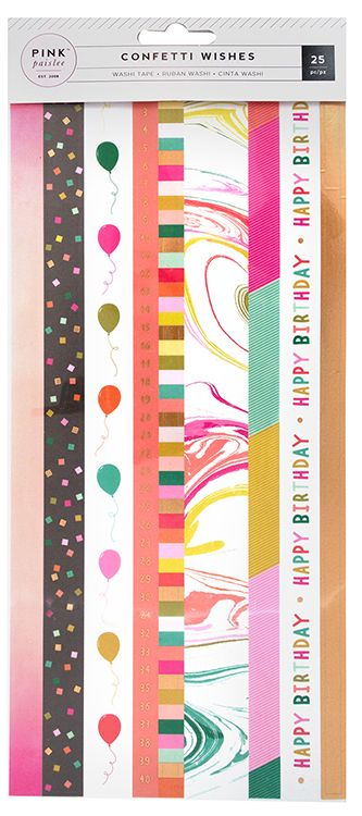 Pink Paislee Washi Stickers - Confetti Wishes
