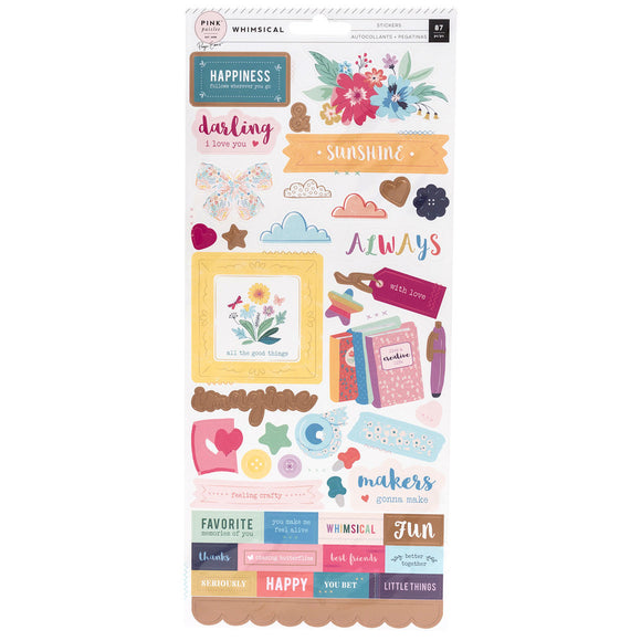 Pink Paislee Cardstock Stickers - Paige Evans - Whimsical
