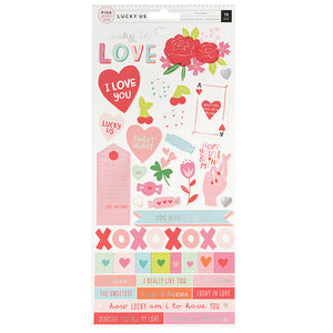 Pink Paislee Cardstock Stickers - Lucky Us