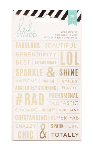 Heidi Swap Word Jumbles Stickers - Fabulous - Clear & Gold