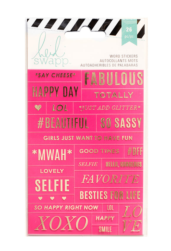 Heidi Swap Word Jumbles Stickers - Say Cheese - Pink & Gold