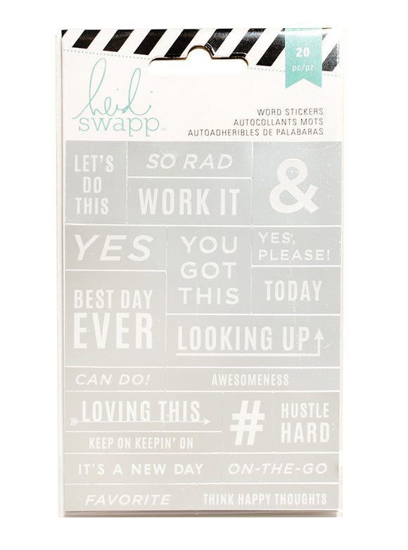 Heidi Swap Word Jumbles Stickers - Let's Do This - Silver & White