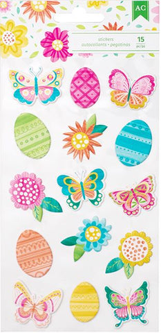 American Crafts Puffy Stickers - Hello Spring