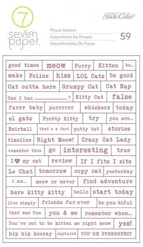 Studio Calico Cardstock Stickers - Baxter Phrases Cat