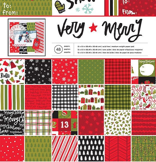 American Crafts 12x12 Cardstock Paper Pad - Very Merry