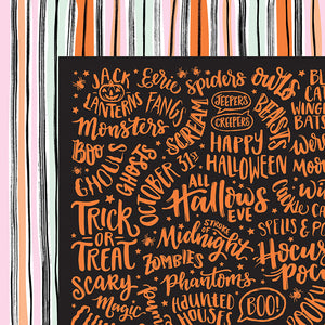 American Crafts Papers - Bootiful Night - Stroke of Midnight - 2 Sheets