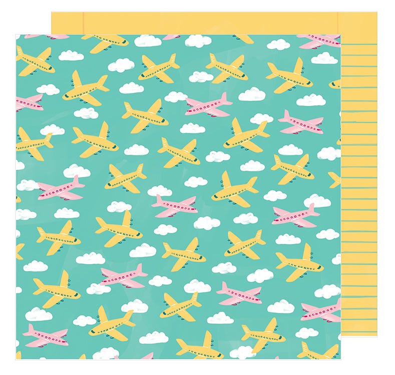 American Crafts Papers - Amy Tangerine - Hustle & Heart - Go Places - 2 Sheets