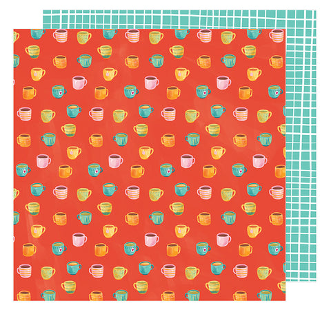 American Crafts Papers - Amy Tangerine - Hustle & Heart - Rise and Shine - 2 Sheets