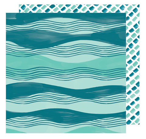 American Crafts Papers - Amy Tangerine - Hustle & Heart - Across the Waves - 2 Sheets