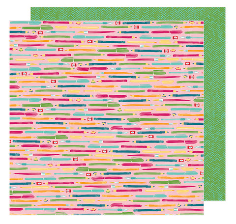 American Crafts Papers - Amy Tangerine - Hustle & Heart - Take Note - 2 Sheets