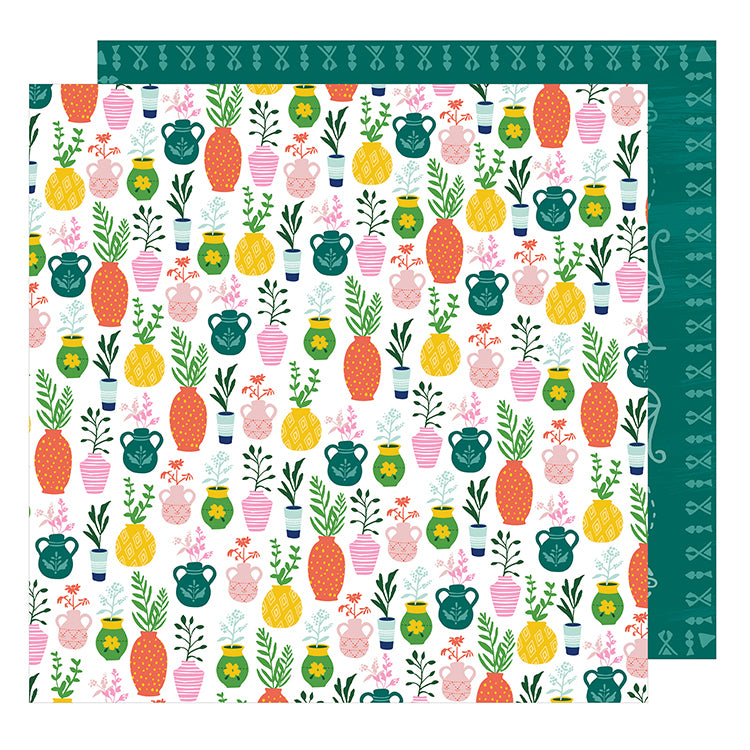 American Crafts Papers - Dear Lizzy - Star Gazer - Green Thumb - 2 Sheets