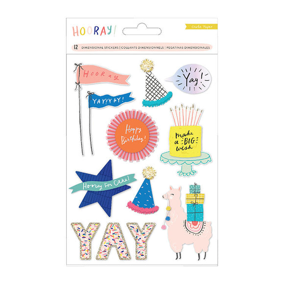 Crate Paper Dimensional Stickers - Hooray